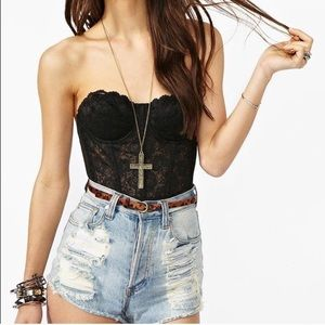 Nasty Gal Dita Lace Bustier Crop Top